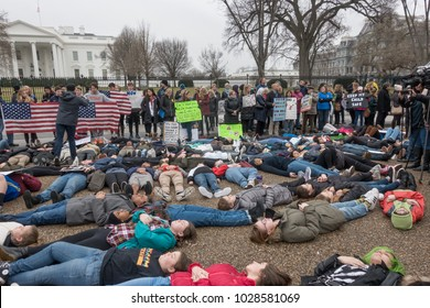 WASHINGTON, DC - FEB 19, 2018: Die-in demonstration at White House protesting government's long-standing inaction on gun control, following deadly shooting in a south Florida high school with an AR-15