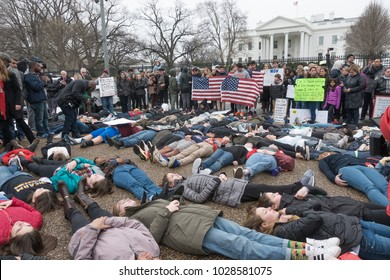 WASHINGTON, DC - FEB 19, 2018: Lie-in demonstration at White House protesting government's long-standing inaction on gun control, following deadly shooting in a south Florida high school with an AR-15