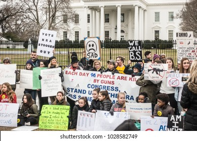 WASHINGTON, DC - FEB 19, 2018: Demonstration at White House protesting government's long-standing inaction on gun control, following deadly shooting in a south Florida high school with an AR-15