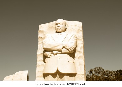 WASHINGTON DC - FEB, 2012: The Martin Luther King Jr Memorial, featuring a portrait of the civil rights leader carved in granite, was dedicated by President Barack Obama in 2011.