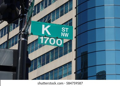 WASHINGTON, DC - FEB. 2017: Street sign of Infamous K Street in Washington, DC, legendary home to lobbyists (although now K St, is mostly symbolic, but still...).