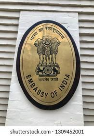 WASHINGTON, DC - FEBRUARY 10, 2019:  EMBASSY OF INDIA - sign at building entrance.
