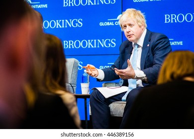 WASHINGTON DC - FEBRUARY 12, 2015: Former London Mayor and Brexit supporter Boris Johnson speaks at the Brookings Institute for an event on good governance.