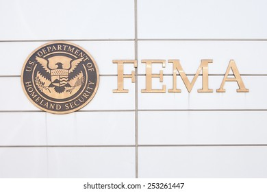 WASHINGTON, DC - FEBRUARY 15: Sign in front of the Federal Emergency Management Agency Headquarters in Washington, DC on February 15, 2015.