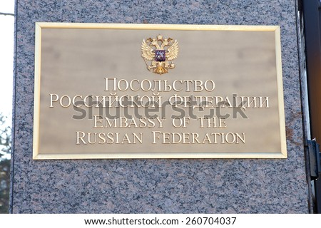 WASHINGTON, DC - FEBRUARY 15: Sign outside the Embassy of the Russian Federation in Washington, DC on February 15, 2015.