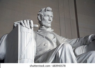 Washington, D.C. - February 17, 2016: Close up of Lincoln Statue in The Abraham Lincoln Memorial, Washington, D.C.on February 17, 2016.