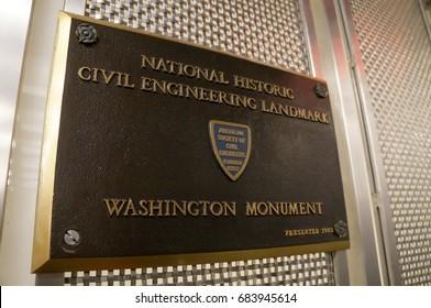 Washington, D.C. - February 17, 2016: American Society of Civil Engineering's heritage plate at Washington Monument on February 17, 2016.