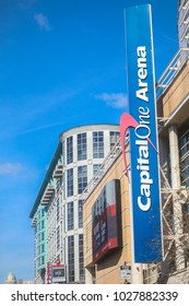 Washington, DC - February 18, 2018: The Capital One Arena, formerly called the Verizon Center, is the home arena for the Wizards, the Capitals, the Mystics and the Valor.