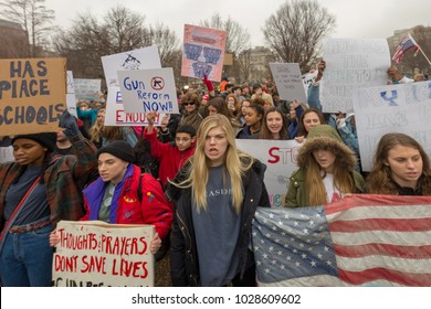 Washington, D.C. - February 19 2018: High school students from across the D.C. area protest gun control laws and gun reform in front of the White House