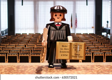 Washington, DC - February 22, 2017: The German Embassy is celebrating the 500th anniversary of the Reformation with a life-size Playmobil figure of Martin Luther, which is used for photo ops.