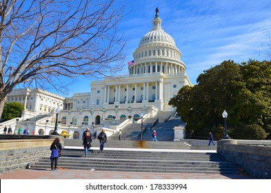 WASHINGTON, DC - FEBRUARY 22: Washington DC Capitol on FEBRUARY 22, 2014 in Washington DC,USA. The Capitol is a famous attraction in Washington DC, and people from all over the world come to visit.