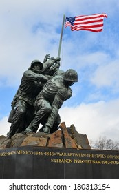 WASHINGTON, DC - FEBRUARY 26, 2014: Iwo Jima Memorial in Washington, DC. The Memorial honors the Marines who have died defending the US since 1775 and a prominent tourist attraction in Washington DC.