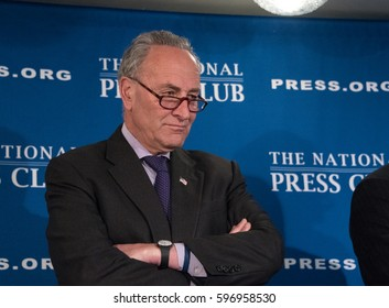 Washington, DC - February 27, 2017: Senate Minority Leader Chuck Schumer speaks to a press conference at the National Press Club