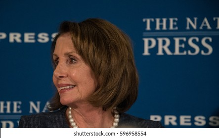 Washington, DC - February 27, 2017: House Minority Leader Nancy Pelosi speaks to a press conference at the National Press Club