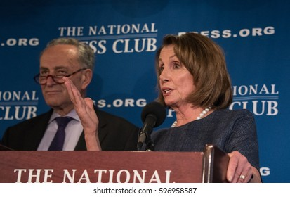 Washington, DC - February 27, 2017: House Minority Leader Nancy Pelosi and Senate Minority Leader Chuck Schumer speak to a joint press conference at the National Press Club