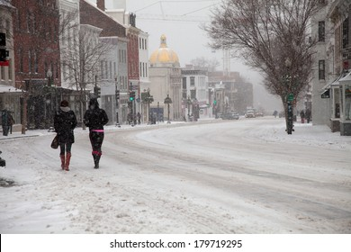 WASHINGTON, DC - FEBRUARY 3: Winter storm of the Mid Atlantic on February 3, 2014 in Washington, DC. Wisconsin Avenue in Georgetown. The government as well as most stores and companies where closed.