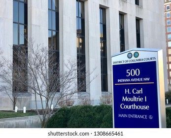 WASHINGTON, DC - FEBRUARY 9, 2019:  DISTRICT OF COLUMBIA COURTS - sign at main entrance.