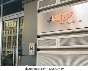 WASHINGTON, DC - FEBRUARY 9, 2019:  AARP AMERICAN ASSOCIATION OF RETIRED PERSONS  - sign at headquarters building.
