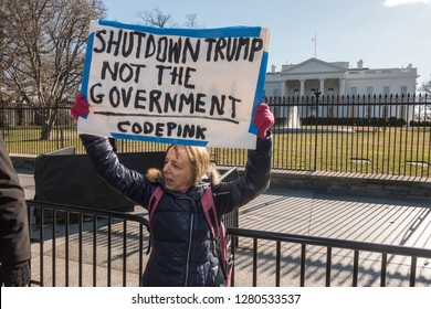 WASHINGTON, DC – JAN. 10, 2019: White House protest over government shutdown by furloughed as well as unpaid working federal employees, union members, contractors and supporters after rally at AFL-CIO