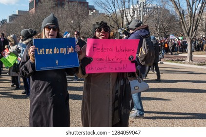 WASHINGTON, DC – JAN. 10, 2019: Protest of government shutdown by furloughed as well as unpaid federal employees, union members, contractors and supporters march to White House from rally at AFL-CIO.