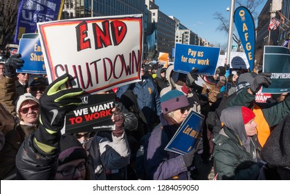 WASHINGTON, DC – JAN. 10, 2019: Protest of government shutdown by furloughed as well as unpaid working federal employees, union members, contractors and supporters at rally AFL-CIO