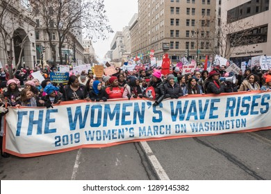 WASHINGTON, DC - JAN. 19, 2019: Thousands of demonstrators marched and rallied in Washington, DC in the third annual Women's March on Washington.