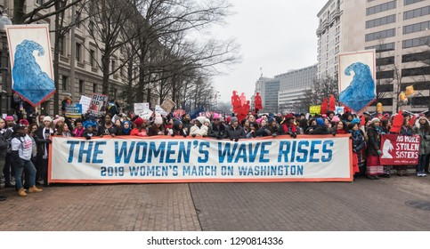 WASHINGTON, DC - JAN. 19, 2019: Some of the thousands of demonstrators marching in 2019 Women's March on Washington, the third annual Women's march, one of many around the country.