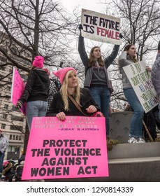 WASHINGTON, DC - JAN. 19, 2019: Some of the thousands of demonstrators at the 2019 Women's March on Washington, the third annual Women's march, one of many around the country.