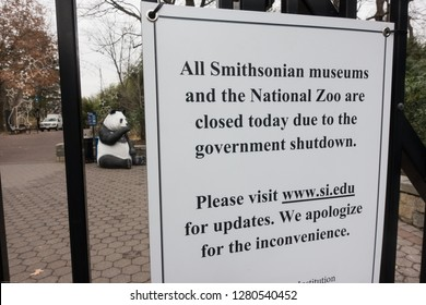 WASHINGTON, DC - JAN. 2, 2019: Sign at the National Zoo alerting would-be visitors, that the zoo and all Smithsonian Museums are closed because of the government shutdown.