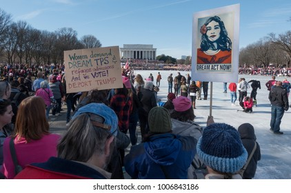 WASHINGTON, DC - JAN. 20, 2018: Dream Act Now sign at rally at Lincoln Memorial for 1st anniversary of Women's March on Washington, demonstrating against the Donald Trump administration and policies.
