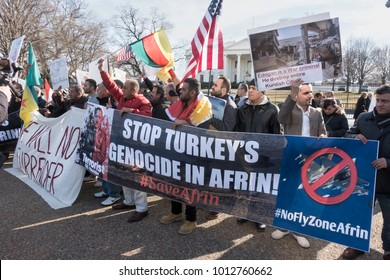 WASHINGTON, DC - JAN. 26, 2018: Protesters at White House rally against Turkey's attacks on Kurds and others in autonomous region of Northern Syria, to draw attention to bombing of civilians by Turkey