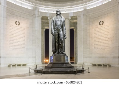 Washington DC - Jan 31st 2016:Jefferson Memorial in Washington DC - excerpts from the Declaration of Independence and letter to Samuel Kercheval