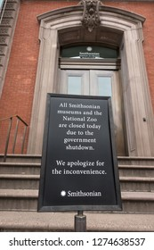 WASHINGTON, DC - JAN. 4, 2019: Sign at closed Renwick Gallery alerting would-be visitors that all Smithsonian Museums are closed because of the government shutdown. The art museum is near White House