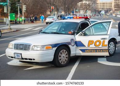 WASHINGTON, DC - JAN.20, 2017: United States Capitol Police on duty on Pennsylvania Avenue in Washington DC, USA.
