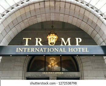 WASHINGTON, DC - JANUARY 1, 2019: TRUMP INTERNATIONAL HOTEL sign at hotel front. Trump Hotel is located in the Old Post Office building, which was leased by the federal government to Trump Hotel.