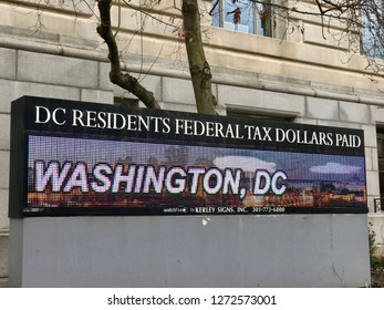 WASHINGTON, DC - JANUARY 1, 2019: DC GOVERNMENT Sign supports DC Statehood.
