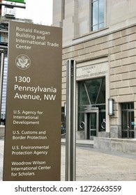 WASHINGTON, DC - JANUARY 1, 2019: US AGENCY FOR INTERNATIONAL DEVELOPMENT - USAID - RONALD REAGAN BUILDING Sign at building exterior shows federal government headquarters with USAID entrance.