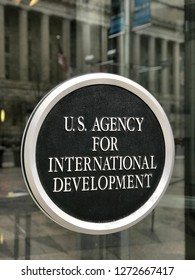 WASHINGTON, DC - JANUARY 1, 2019: US AGENCY FOR INTERNATIONAL DEVELOPMENT - USAID - federal government headquarters building of agency showing close up of sign at entrance.