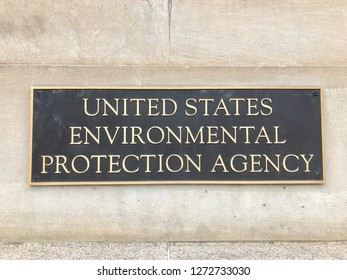 WASHINGTON, DC - JANUARY 1, 2019: ENVIRONMENTAL PROTECTION AGENCY EPA sign at headquarters building entrance.