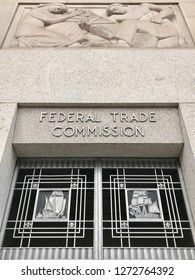 WASHINGTON, DC - JANUARY 1, 2019: FEDERAL TRADE COMMISSION FTC headquarters building entrance sign above door.
