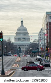 WASHINGTON, D.C. - JANUARY 10, 2014: Washington Cityscape and Capitol in Background.