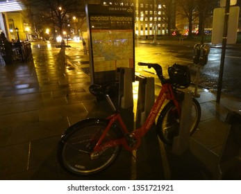Washington, DC - January 12 2015: The Capital Bikeshare dock at K Street and 15th Street at night