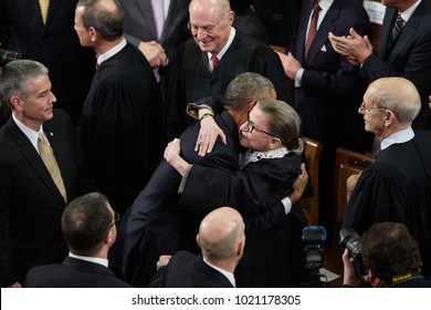 WASHINGTON, D.C. - JANUARY 12, 2016: President Barack Obama hugs Associate Supreme Court Justice Ruth Bader Ginsburg before delivering his final State of the Union.