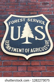WASHINGTON, DC - JANUARY 12, 2019: FOREST SERVICE - USDA - DEPARTMENT OF AGRICULTURE - Sign seal emblem at headquarters building.
