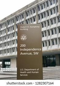 WASHINGTON, DC - JANUARY 12, 2019: DEPARTMENT OF HEALTH AND HUMAN SERVICES sign at headquarters building.
