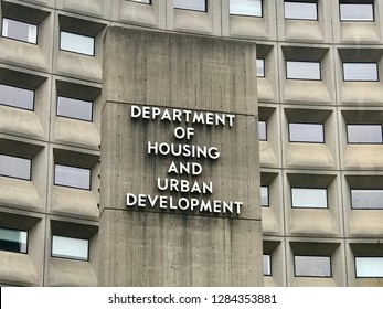 WASHINGTON, DC - JANUARY 12, 2019: HUD - DEPARTMENT OF HOUSING AND URBAN DEVELOPMENT - Sign on headquarters building facade.