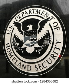WASHINGTON, DC - JANUARY 12, 2019: DEPARTMENT OF HOMELAND SECURITY sign seal emblem at US IMMIGRATION AND CUSTOMS ENFORCEMENT - ICE -headquarters building.