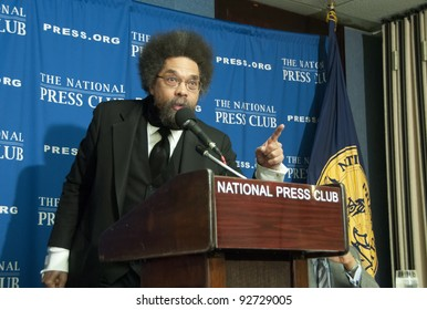 WASHINGTON, DC - JANUARY 12: Philosopher, author, social critic, and activist Cornel West emphasizes a point during a press conference at the National Press Club, January 12, 2012, in Washington, DC