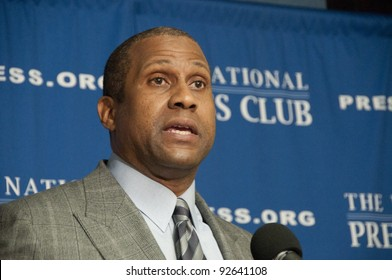 WASHINGTON, DC - JANUARY 12: Talk show host, author, and political commentator Tavis Smiley speaks at a press conference at the National Press Club, January 12, 2012, in Washington, DC