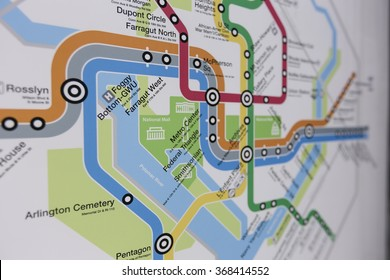 WASHINGTON DC. JANUARY 15 2016. Interactive metro map Washington, DC center of city. Downtown monuments, museums. Explore neighborhood. Editorial use only